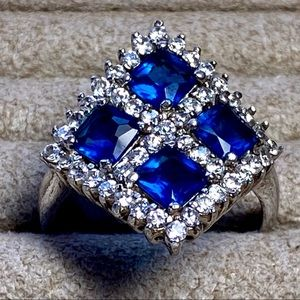 Blue Glass CZ Sterling Silver Statement Ring